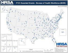 Preview Map of FY20 Awarded Grants - Bureau of Health Workforce (BHW)