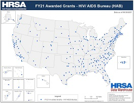 Preview Map of FY20 Awarded Grants - HIV/ AIDS Bureau (HAB)